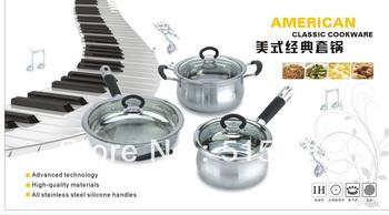 12pcs silicone handles Classic  Stainless Steel Cookware set//Milk pot/Casserole/Soup pot