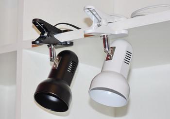 NEW ARRIVAL AC 220V Retating black White portable LED desk lamp clip bed-lighting work bulb eye-shaped light for home decor