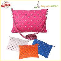 2014 new  winter rivet chain  vintage envelope  messenger bag day clutch women's handbag