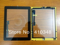 10pcs/lot 100% original Touch Screen With Home Button Assembly+sticker for New iPad 3 Black free shipping by DHL EMS