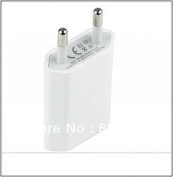 Free shipping 10pcs/lot AC Power USB Wall Charger For iPhone 5 4 4S 3GS iPod EU Plug(China (Mainland))