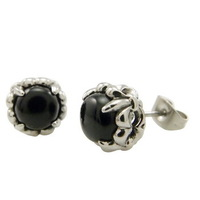HOT SALE Men's WOMEN One Pair of 316L Fleur De Lis Black CZ Stainless Steel Stud Earrings, Free shipping,E#021