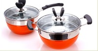 4 PCS  MILK PAN &SOUP PAN  DIA :20CM BATTERFLY STYLE   STAINLESS +HIGH TEMPERATURE RESISTED PAINTING