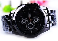 Freeshipping The supply of new steel watch Mens steel table in three eyes six pin male business gift table