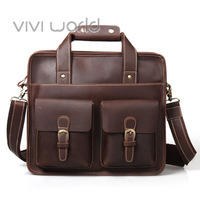 Free shipping, Vintage British style business men bag, Genuine leather handwork briefcase / messenger bag / shoulder bag