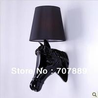 Dutch Moooi Design Resin Horsehead Wall light+Free shipping,Fabric Lampshade Bedside lamp WL036