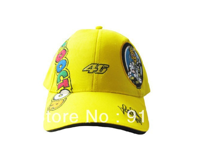 Free Shipping black yellow Rossi Signature cotton VR46 doctor with tag Motorcycle Fans F1 car Racing Baseball Sunbonnet HAT CAP(China (Mainland))