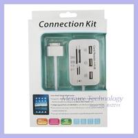 7 in 1 Card Reader USB HUB Camera Connection Kit For iPad 1/iPad 2/iPad 3
