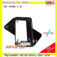 [30pcs/lot]Replacement Glass Back Battery Cover Housing With Open Tools for iPhone 4 4g  +Free shipping By china post