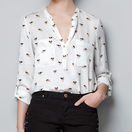 [1031] Fashion Dogs Chiffon Women Shirt Collarless Loose Animal Print Blouse S M L(China (Mainland))