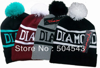 Diamond beanie hat popular style skullies and beanies men and women winter knit cap 4 colors free shipping