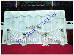white color/10ft*20ft/ Wedding backdrop curtains \ ice silk fabric Free shipping(China (Mainland))