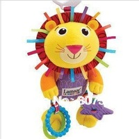 Hot sale super cute baby toy plush toy 10% multifunctional lion yellow lamaze bed hang/bell baby mobile bile