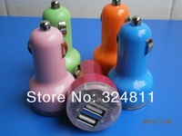 2A /1A Universal Dual 2 Port USB Car Charger for iphone 3 5  ipad mini  samsung HTC BB retail box double usb car charger 20pcs