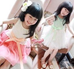 Summer Fashion Flower Girl's Baby dress Lace girls dress Children's dresses Kids wear Kids clothes(China (Mainland))