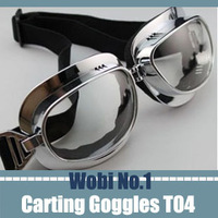 2013 Classical Vintage Motorcycle Goggles Glasses for Motorcycle Riding Eyeglasses Leather Chrome WWII Punk Unique Clear Lens