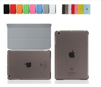 iPad Mini Magnetic Front Smart Cover +Crystal Hard Back Case For iPad Mini Multi-Color 100pcs/lot for  free shipping
