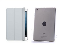Slim Magnetic Front Smart Cover +Crystal Hard Back Case Skin Shell for iPad Mini Multi-Color 50pcs/lot for  free shipping