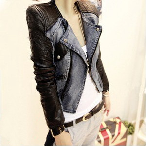 Free Shipping Style Women Rivet Locomotive leather jacket Casual coat Slim jeans leather coat ! Black,M,L