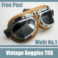 DROP SHIP Red Baron Aviator Flying Goggles Cafe Racer Motorcycle Smoke Lens motorcycle sunglasses fashion vintage punk eyewear