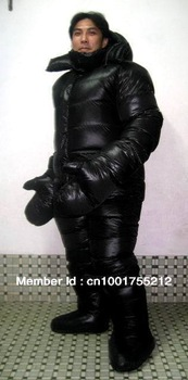 Shiny Glossy nylon wetlook down suit down jacket down coat downhood overcoat overall winter coat  Glanznylon Daunenoverall XXL