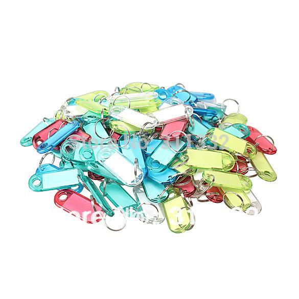 Free shipping Plastic Key chain Key Tags ID Label Name Key Tags Split Ring 5 colors,100Pcs/lot(China (Mainland))