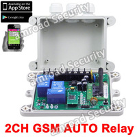 APP Control- 2CH Outputs GSM AUTO SMS Remote Control Controller Relay Two Output Contacts Switch Quad Band,Free Shipping by Post