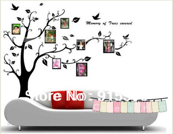 Free Shipping:Wholesale 2Sets/Lot DIY Photo Frame Tree With Flower Kids Art Mural Wall stickers Decal Decor/Finish Size 90*110cm