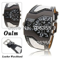 Sample Oulm 1220 Multi-Function Dual Movt Leather Wrist Watch with Black Quartz Dial for Male