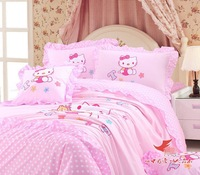TOP Brand Embroidered Pink Hello Kitty queen size bedding set 4pcs Kids comforter set quilt cover bed linen cotton home textile