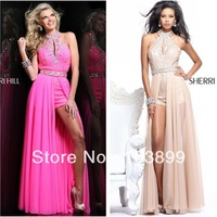 Gorgeous Halter Sleeveless Crystals Hot Pink Chiffon Prom Dress Short Front Long Back
