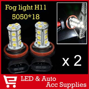 2 x 18 SMD LED 5050 H11 Socket Car Fog Lights Driving Light Lamp Bulb for Ford Toyota Audi Honda Porsche Xenon White 12V CD021