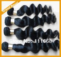 Mixing 4pcs lot  Peruvian virgin hair loose wave unprocessed virgin hair weave bundles Free shipping