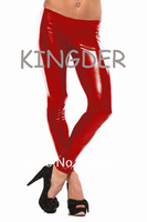 Sexy latex red leggings skinny pants tights for women party wear erotic costumes