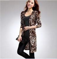 2013 new fashionable cardigan Leopard cardigan coat Leopard grain long knitted cardigan women's coat