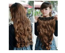 One Piece New Long Synthetic Curly/Wave Clip In Hair Extensions Styling Stylish Queens Fashion Hairpiece For Women 6 colors(China (Mainland))