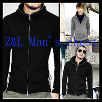Mix fashion men british style dovetail men's clothing slim with a hood sweater male cardigan sweater Dovetail bandage sweater