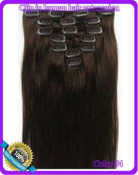 "15"" 18"" 20"" 22"" 24"" 26"" Virgin Remy Hair Clip In Human Hair Extensions  Full Head Set  Color  #4 Medium brown"