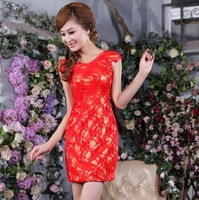 Free Shipping 2014 Newest Design Fashion Lace Bridesmaid Dresses Birthday Party Dress