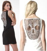 ladies lace skull design mini dress women 2013 new design fashion summer dresses seller!!