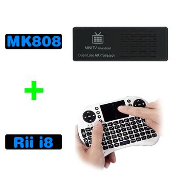 1lot =1pc MK808+1 pc RII I8 , Smart Google TV Box Android 4.1 Dual Core Full HD IPTV MK808 + 2.4G Rii Keyboard Touchpad