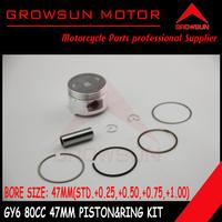 GY6 80cc Piston kit (47mm STD,+0.5,+1.0) for QMB139 Scooter SUNL, Roketa, NST, Baotian,Keeway,JCL,  Taotao, ATV Motors