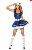 Free Shipping ML5267 Hot Selling Clubwear Blue Cute sexy sailor costume (including Cap,Skirt ) Sailor Girl Costume