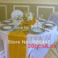 "30Pcs/Lot 13.6"" x 70"" Satin Table Runners Wedding Party Decor Golden  Dropshipping 9224"