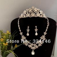 2015 Top quality white water drop crystal bridal jewelry sets hot sale rhinestone flower wedding tiaras jewelry set accessory