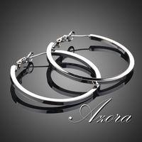AZORA Platinum Plated Classic Hoop Earring TE0023