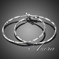 AZORA 18K White Gold Plated Classic Round Hoop Earring TE0024