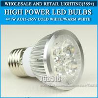 Wholesale 50PCS High power led Bulb Lamp E27 4W 4*1W 5W 5*1W AC85-265V Warm White/Cold white Free Shipping