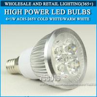 Wholesale 50PCS High power led Bulb Lamp E14 4W 4*1W 5W 5*1W AC85-265V Warm White/Cold white Free Shipping