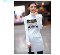 Free shipping wholesale women's T-shirt Stylish high collar long-sleeved T-shirt shirt bottoming